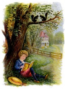 Walter leyendo bajo los arboles.