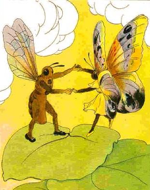 La abeja y la mariposa bailando